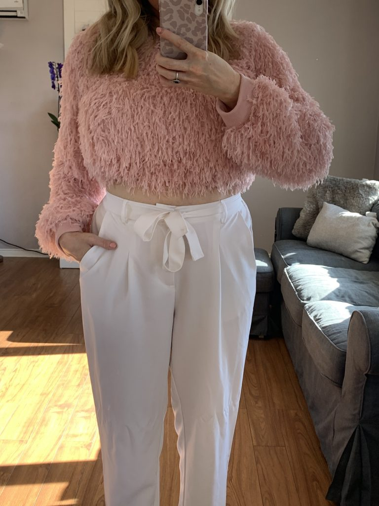 Pink feathery sweater, SheIn Valentines Day Haul