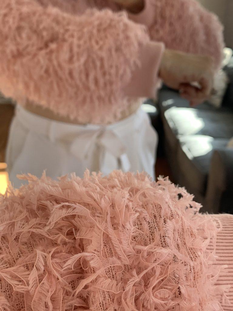 Pink furry sweater