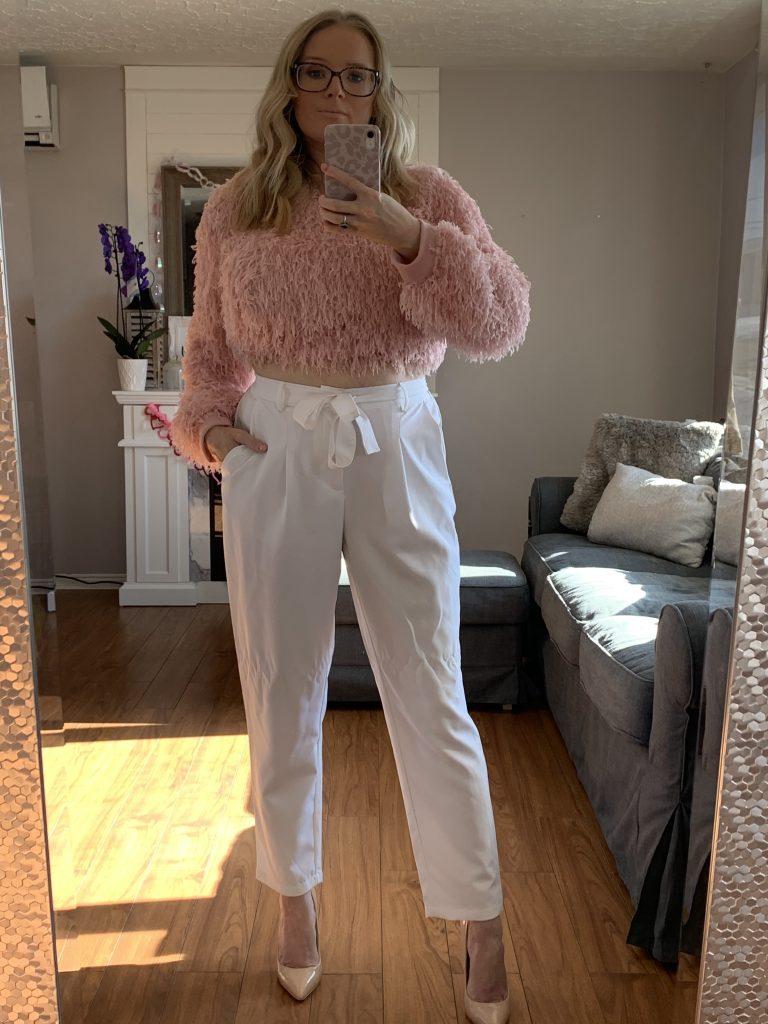 SheIn Valentines Day Haul, Pink feathery SheIn sweater