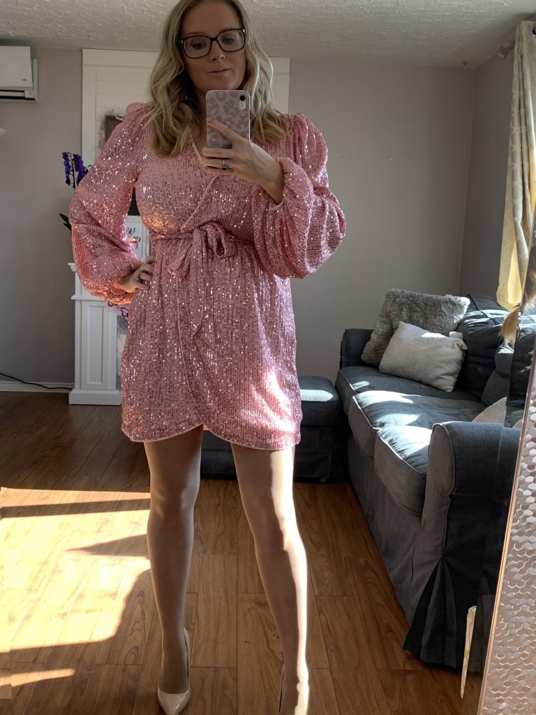 Pink sequin mini skirt with bell sleeves, SheIn Valentines Day Haul
