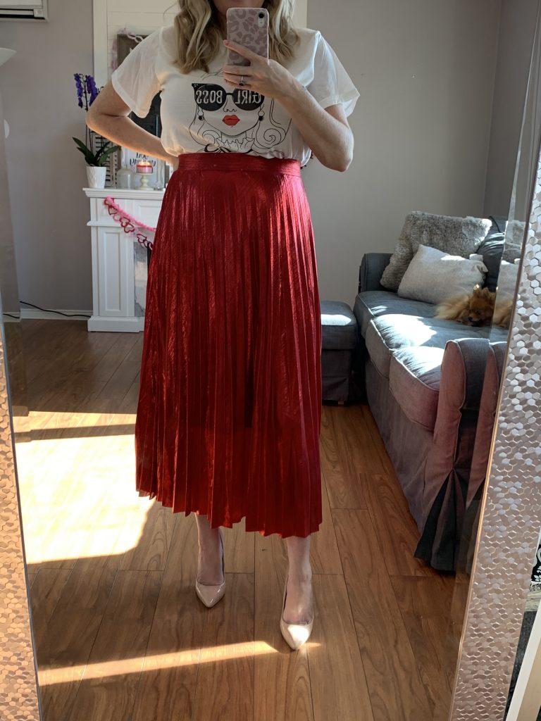 Red metallic skirt SheIn
