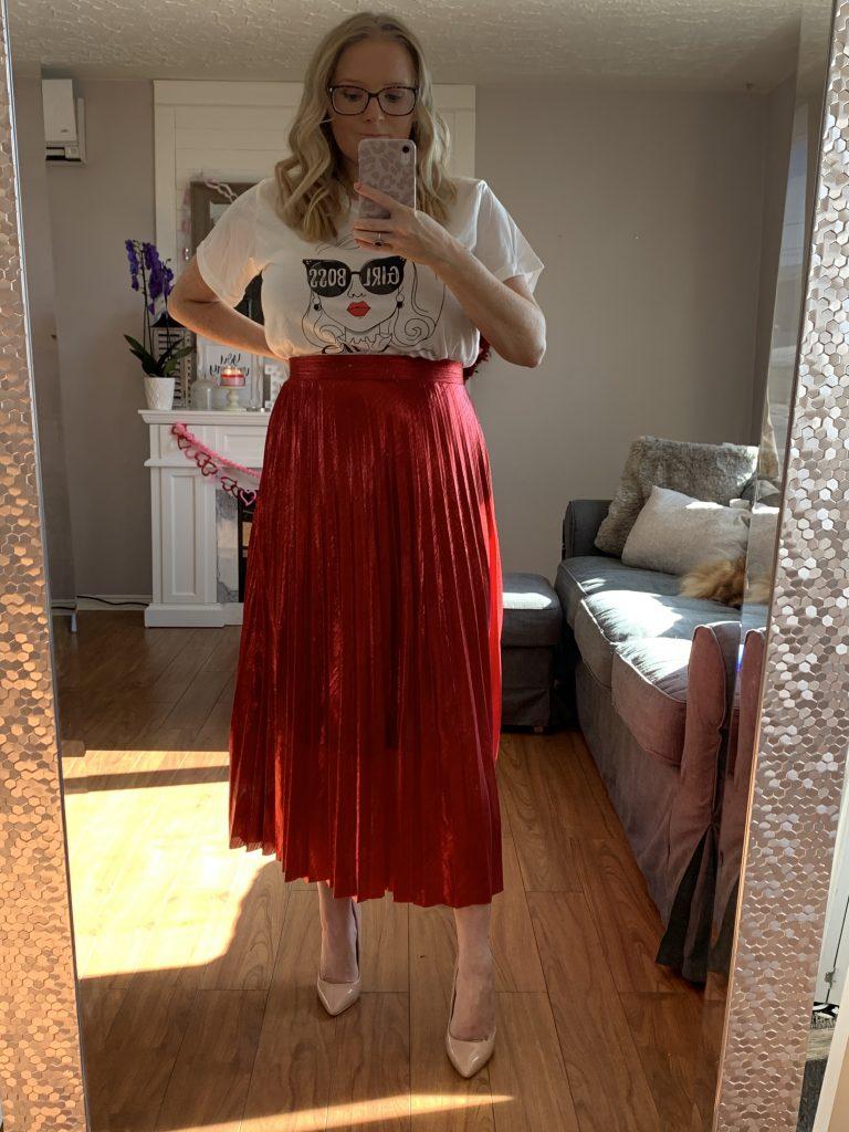Red SheIn metallic skirt