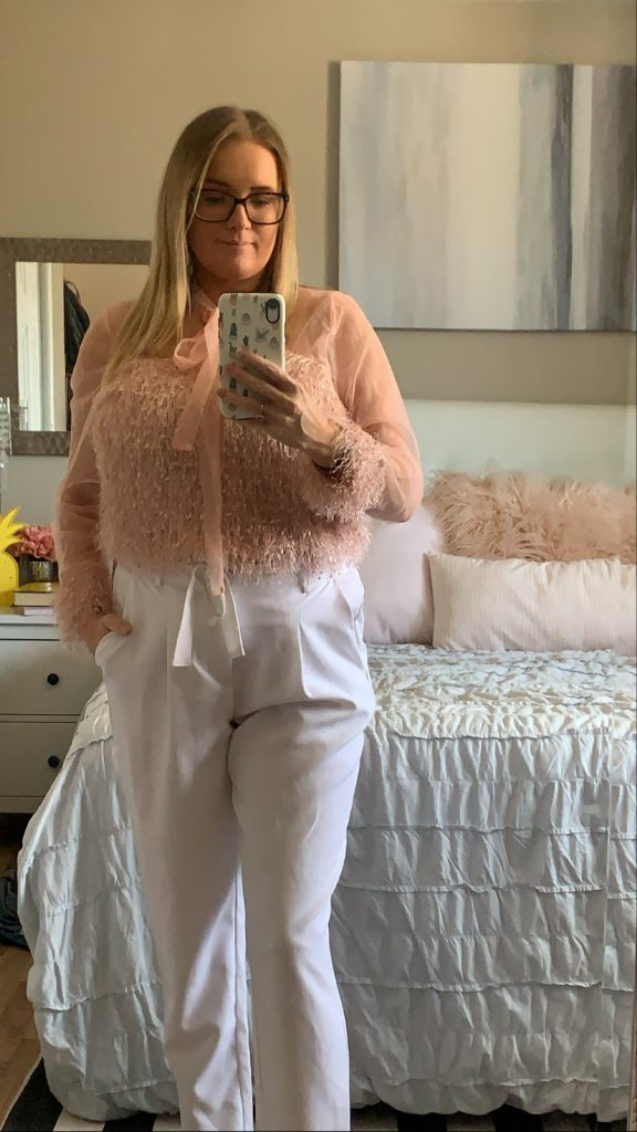 Pink tie neck furry blouse