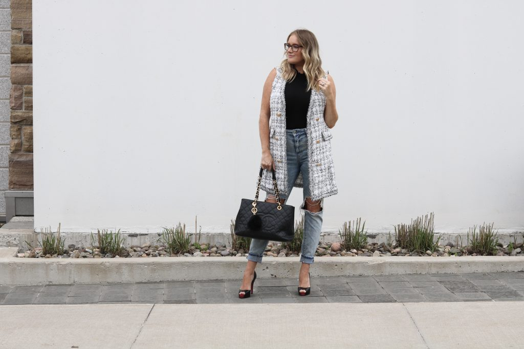 Chic black and white tweed vest